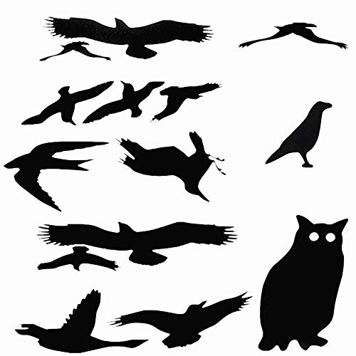 Window Alert Bird Stickers Silhouettes Glass Door Protection Save Birds & Owl,New Design (6 Sheets, 14 Silhouettes) -