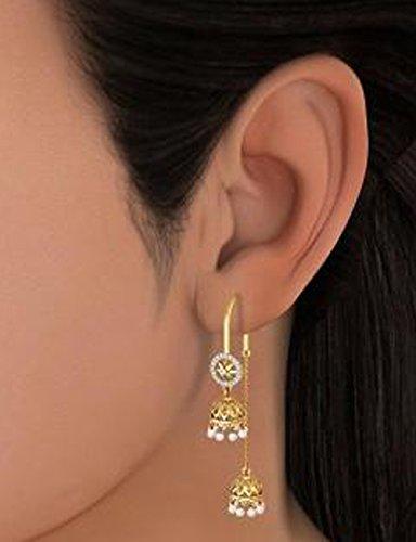 18K Or jaune 0,15CT TW White-diamond (IJ | SI) et blanc perle Pendants d'oreilles