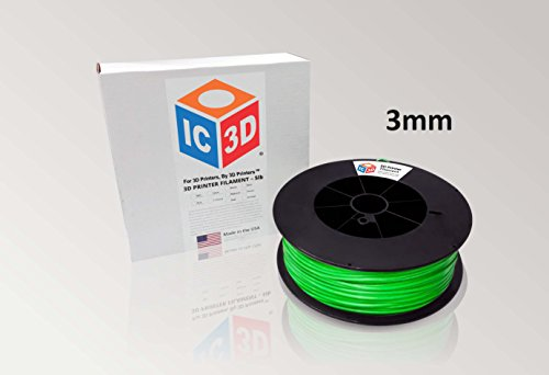 UPC 853979005305, IC3D Green 3mm ABS 3D Printer Filament - 5lb Spool - Dimensional Accuracy +/- 0.05mm - Professional Grade 3D Printing Filament - MADE IN USA