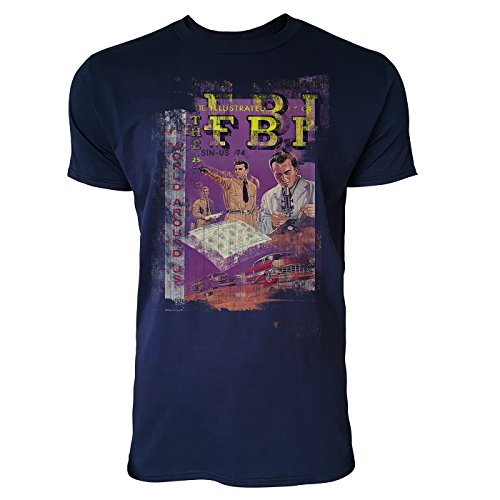 SINUS ART® FBI Herren T-Shirts stilvolles dunkelblaues Navy Fun Shirt mit tollen Aufdruck