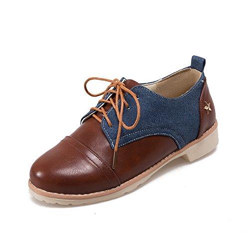 BalaMasa Ladies Bandage Square Heels Round-Toe Urethane Oxfords Shoes supplies