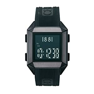 Cerruti 4361873 - Reloj digital de caballero de cuarzo con correa de resina negra (cronómetro) - sumergible a 30 metros