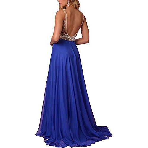 Brautjungfern Perlstickerei V Chiffon Hochzeit Blau Lang kleider Ausschnitt Beyonddress Abendkleider Ballkleider Damen qawzBB