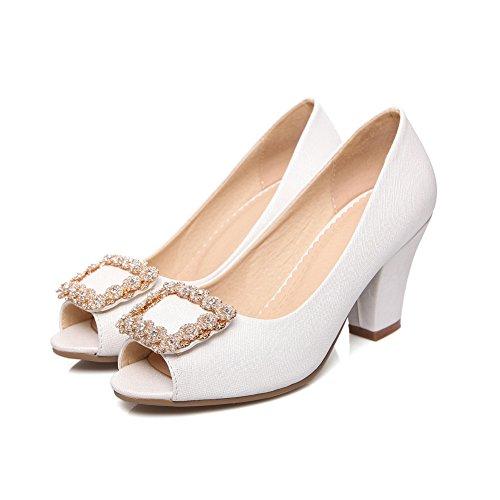 Balamasa Donna In Metallo Ornamento In Vetro Diamantato Tacchi Alti In Pelle Imitato Pompe-scarpe Bianche