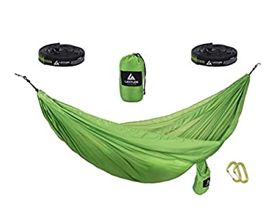 Latitude Outdoor Premium Double Ripstop Parachute Camping Hammock. INCLUDES Looped Tree Straps AND Aluminum Wire-gate Carabiners in ONE bag. Perfect for travel, backpacking & beach.