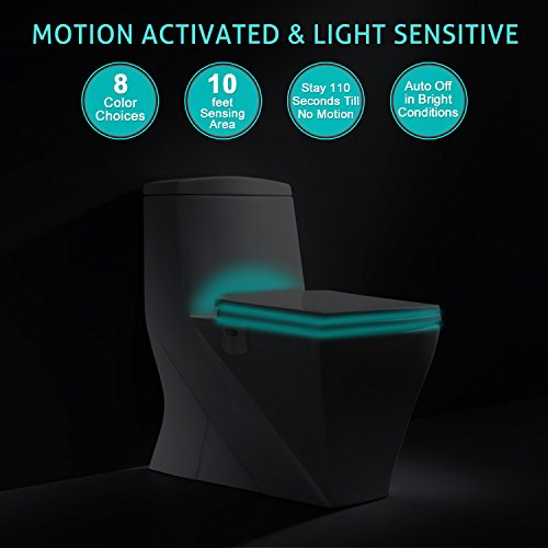 Motion Activated Toilet Night Light by Diateklity - Two Modes with 8 Color Changing - Sensor LED Washroom Night Light - Fits Any Toilet (1 pc)