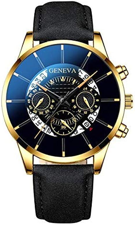 ღLILICATღ Reloj en Caja de Acero Inoxidable, Digital Multi Layer Dial, para Hombre, con Correa de Acero Macizo: Amazon.es: Relojes