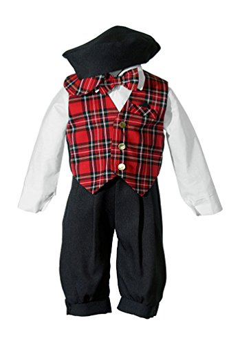 Vintage Christmas Outfits - Tuxgear Baby Vintage Black Knickers Set with Holiday Red Plaid Bow Tie & Vest (12 Months)