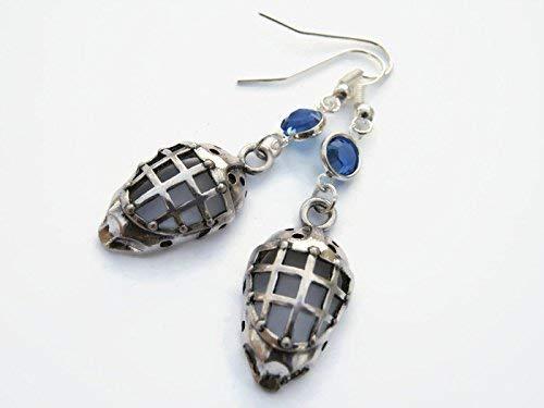 Hockey Birthstone Earrings, Sports Earrings, Athletic Earrings, Personalized Hockey Mask Jewelry