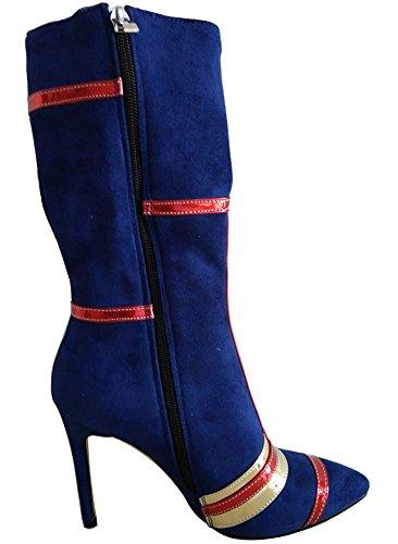 Moyenne Multicolore Soirée Bottes Bleu Talon Tige Aiguille Sexy Femme Ruée Aisun wqxI76HH