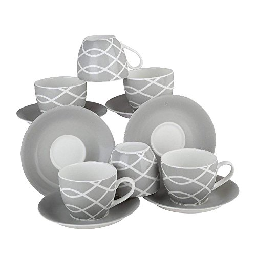 Oven Cups Safe Saucers (Da Facioun Serving Tableware Clay Craft Cup Saucers 12 Pcs Set.)