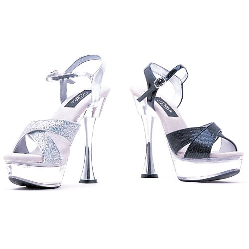 Womens 6 Inch Silver Cone Heel Glitter Sandal (Silver Glitter;5) QoOeqYXX6