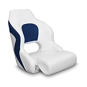 Boss Accessories Two Tone Captain's Bucket Seat Boat Seat(White/Blue)