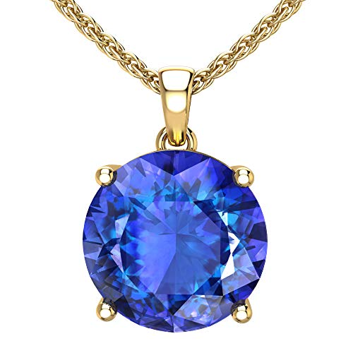 Belinda Jewelz 14k Rhodium Plated Yellow Gold Round Gemstone Sparkling Rope Chain Sterling Silver Birthstone Fine Jewelry Classic Womens Hang Pendant Necklace, 4.2 Carat Created Blue Sapphire, 18 Inch (Best Quality Yellow Sapphire Gemstone)