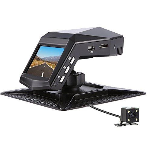 Car Camera Front and Rear, Full HD 1296P Dual View Dash Cam 140°Wide Angle Dashboard Camera with Front IR Night Vision, WDR, Motion Detection, Parking Monitor, G-Sensor, Loop Recording