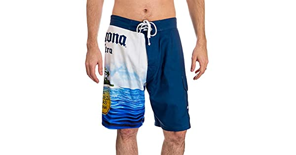 Calhoun Official Corona Mens Swim Trunk Board Shorts Summer Can Island Design