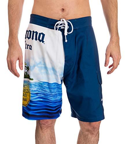 Calhoun Official Corona Mens Swim Trunk Board Shorts Summer Can Island Design (Medium, Island)