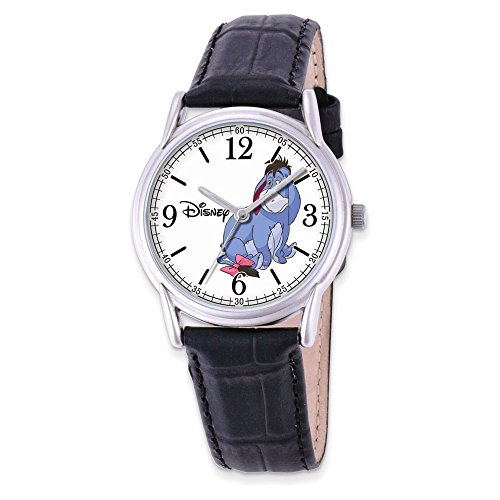 Jewelry Adviser Watches Disney Adult Size Black Leather Strap Eeyore Watch