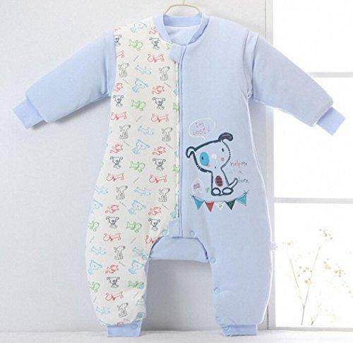 Happy Dream saco para bebé invierno manga larga - Garcon - niña pijama niños Confort combinación de patas. 0 - 4 años azul Bleu dog Talla:XL:100-120CM(3- ...