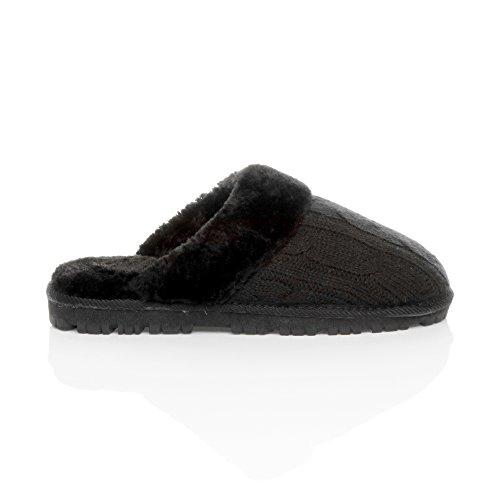 Ajvani - Zapatillas de estar por casa para mujer Black Knitted