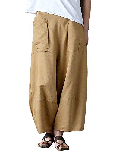 IDEALSANXUN Women's Elastic Waist Cotton Linen Casual Wide Leg Pants Trousers With Big Pockets (Large, 1-Khaki) Classic Shirt & Wide Leg Pants