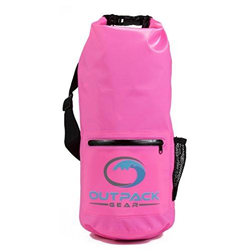 (Outpack Gear Dry Bag Waterproof Backpack | Lightweight Daypack Sports Sackpack | Roll Top, Zip Pocket, Water Bottle Holder, Shoulder Straps | Kayaking Beach Boating Gym Hiking Swim Camping (Pink, 20L))