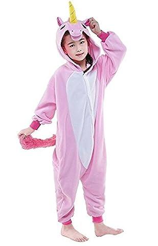 ABING Halloween Pajamas Homewear OnePiece Onesie Cosplay Costumes Kigurumi Animal Outfit Loungewear,Pink Unicorn Chidren Size 115 -for Height:126-137cm
