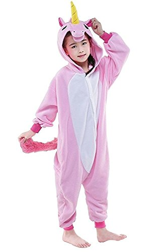 Home Halloween Costumes Teenagers (ABING Halloween Pajamas Homewear OnePiece Onesie Cosplay Costumes Kigurumi Animal Outfit Loungewear,Pink Unicorn Chidren Size 125 -for Height:138-148cm)