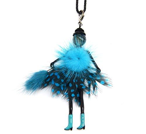 SP699D - Sautoir Collier Pendentif Poupée Articulée Femme Robe Pompon Fourrure Bleu avec Plumes Paon et Bottes