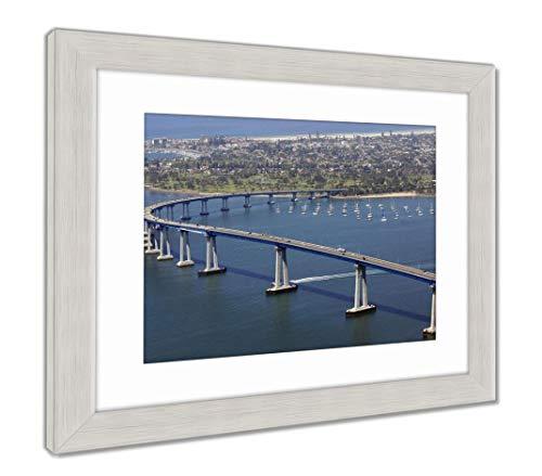 Ashley Framed Prints Panoramic View of San Diegos Coronado Bay Bridge, Wall Art Home Decoration, Color, 34x40 (Frame Size), Silver Frame, AG5596843