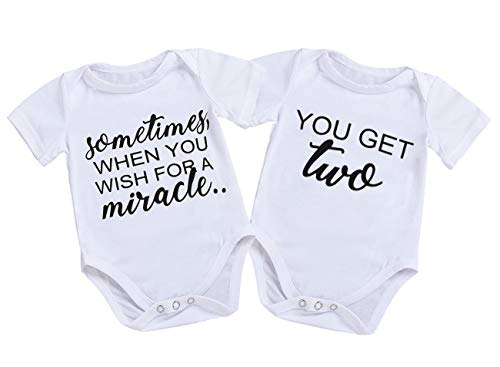 Mini honey Infant Twins Baby Boys Girls Short Sleeve Letter Print Romper Bodysuit Summer Outfit Clothes (0-3 Months, Sometimes) by Mini honey