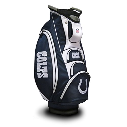 Team Golf NFL Indianapolis Colts Victory Golf Cart Bag, 10-way Top with Integrated Dual Handle & External Putter Well, Cooler Pocket, Padded Strap, Umbrella Holder & Removable Rain Hood
