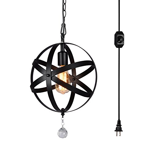 HMVPL Plug-In Industrial Globe Pendant Lights with 15 Ft Hanging Cord and Dimmable On/Off Switch, Vintage Metal Spherical Lantern Chandelier Ceiling Light - 16' Cord Pendant