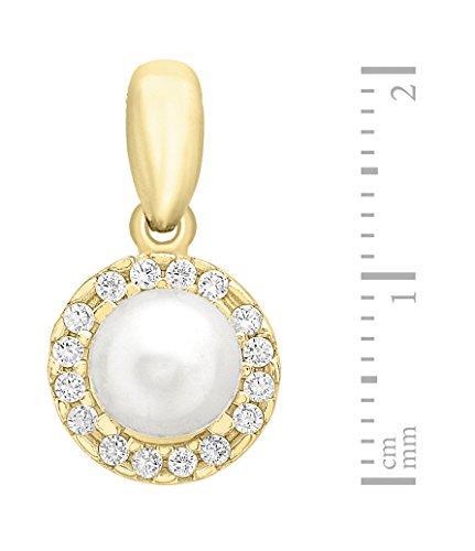 Carissima Gold Cadena con colgante de oro de 9K (375/1000), perla, 46 cm