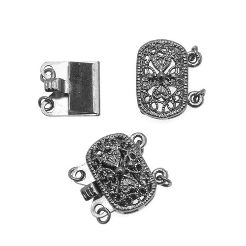 Gun Metal Plated Oval Box Clasp - Ornate Beaded Filigree - 14.5x15.5mm (Filigree Box Clasp)