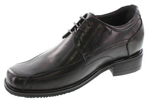 calto-g71302-8,1cm Grande Taille-Hauteur Augmenter Chaussures ascenseur (Laçage Noir Square-Toe)
