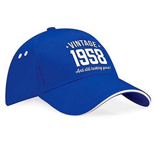 para cumpleaños 60 hombres Putty cumpleaños mujeres cumpleaños de Navy béisbol vintage Trim cumpleaños gorra cumpleaños 60 sombrero de Blue regalo 60 tela para 60 cumpleaños White de Trim Regalo 1958 Royal tal qPZ4vwItx