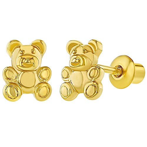 18k Gold Plated Little Teddy Bear Screw Back Earrings for Toddlers and Little Girls