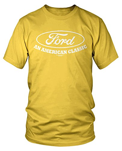 (Amdesco Men's Ford an American Classic Officially Licensed T-Shirt, Yellow Large)