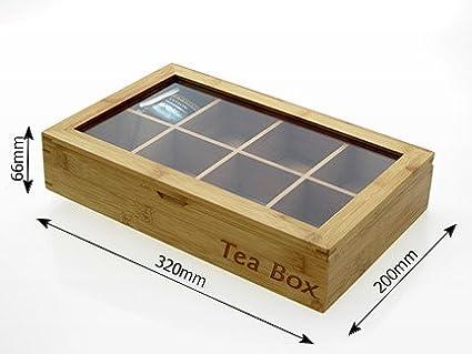 de bamb/ú Natural Finoak Caja de t/é Incluye 8/Compartimentos