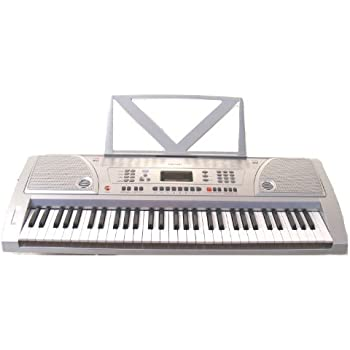 62 keys silver student electronic digital piano keyboard with free lessons notes. Black Bedroom Furniture Sets. Home Design Ideas