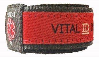 Vital ID Child Adjustable Medical Alert ID Bracelet - Red