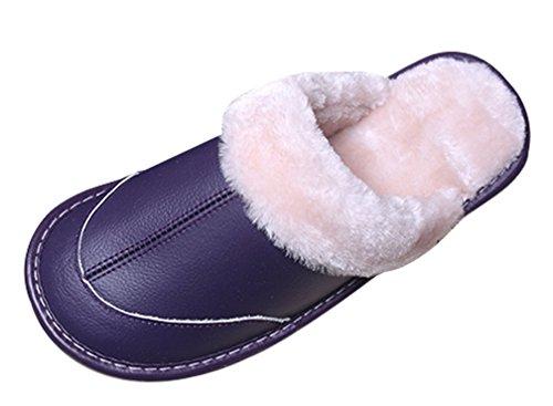 Cattior Womens Foderato Di Pelliccia Caldo Accogliente Pantofole In Pelle Pantofole Viola