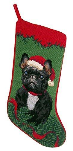 Black French Bulldog Dog Needlepoint Christmas Stocking by ED