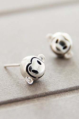 s925 Silver Lovely Lovely da Cute Little Monkey tie Natal Dimensional Earrings earings Dangler ()