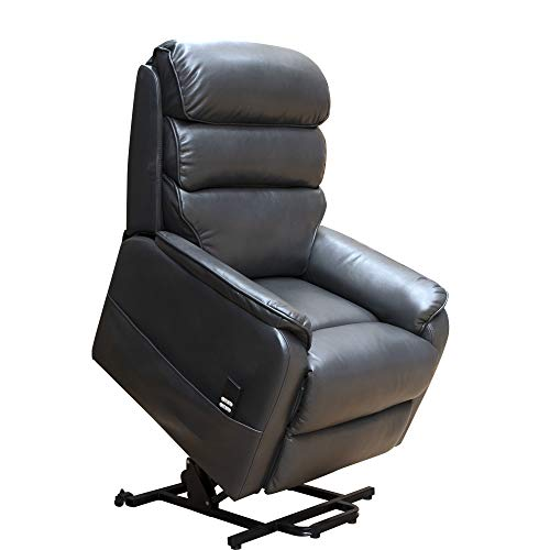 Irene House (Dual Motor) Lays Flat Electric Power Lift Recliner Chair for Elderly Comfortable (Breath Leather ),Soft and Sturdy(Gery)