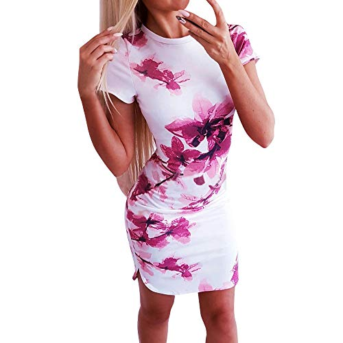 FONMA Fashion Women's Sexy Summer Print Short Sleeve O-Neck Tight Dress Mini Dress White