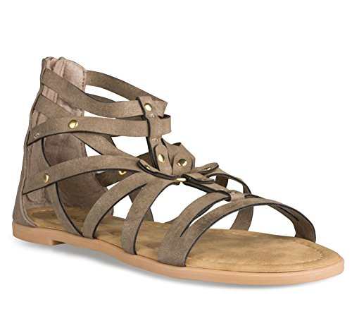 Daisy Womens Sandals (Twisted Women's Daisy Faux Leather Caged Gladiator Ankle Sandal - DAISY619 Gold, Size 8)