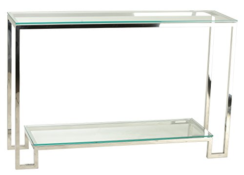 Cortesi Home CH-AT656904 Reef Contemporary 2 Shelf Glass Console Table