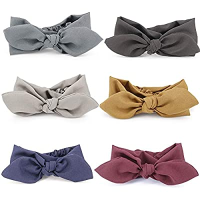 6 Pcs Headbands Vintage Stripe Pattern Elastic Printed Bow Tie Head Wrap Stretchy Hairband for Women